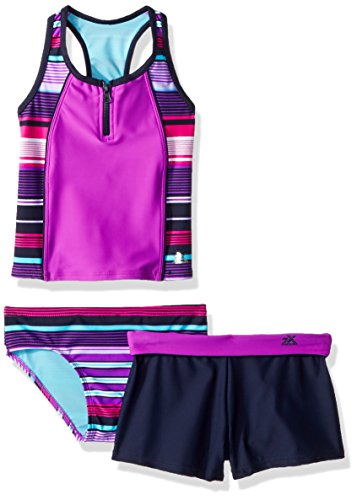 2 Piece Nylon Tankini - ZeroXposur Big Girls' Two Piece Tankini Swimsuit Set, Limbo Beet, 10