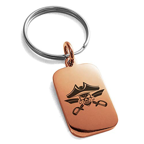 - Tioneer Rose Gold Plated Stainless Steel Jolly Roger Skull Pirates Cross Swords Engraved Small Rectangle Dog Tag Charm Keychain Keyring