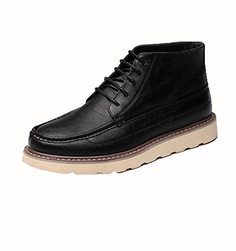 WZG zapatos ocasionales de los hombres de Inglaterra Martin botas de alta superior zapatos de hombre, botas de encaje Black