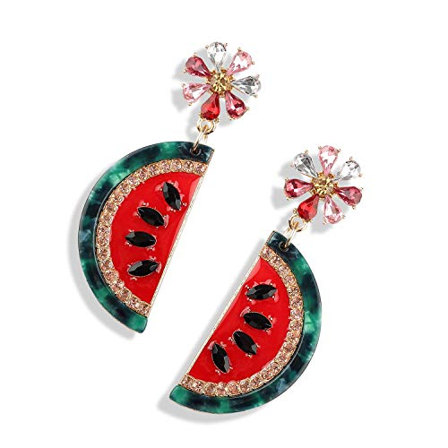 Statement Watermelon Fruit Drop Earrings Dangle Cute Summer Earring for Daily Party Seaside HLE149 Red - Elegant Moments Jewelry