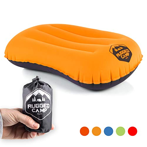 Rugged Camp Camping Pillow - Inflatable Travel Pillows - Multiple Colors - Compressible, Lightweight, Ergonomic Head Neck Support Camping Plane Travel - Lumbar Back Support (Orange/Black)