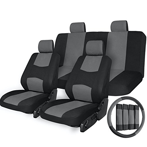 Price comparison product image 17pc Car Seat Covers Airbag Compatible Universal Full Set + Steering Wheel Cover