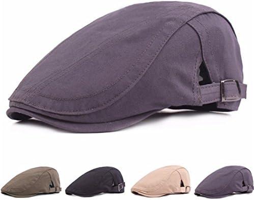 Doitsa Schieberm/ütze Einfarbig Unisex Erwachsene Flache Kappe Berets Einstellbar Flatcap aus Baumwolle Im Freien Freizeit Cap(Beige)