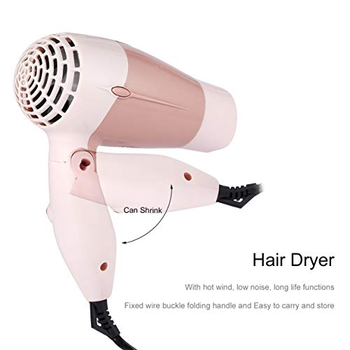 Mini Portable Foldable Handle Compact 1000W Hair Dryer Blow Dryer Hot Wind Low Noise Long Life for Outdoor Travel by Detectoy (Image #1)