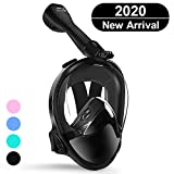 ANIMDIVE Full Face Snorkel Mask with Latest Advanced Safety Breathing System,Dry Top System,180° Panoramic Snorkeling Mask with Camera Mount,Anti-Leak & Anti-Fog (Black, L/XL)