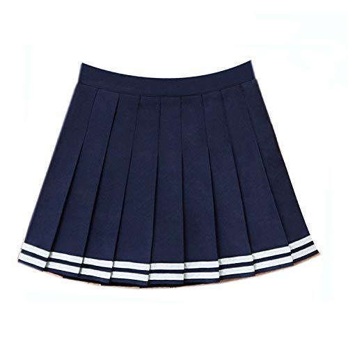 Attrastores Pleated Skirts Harajuku Lolita Stripe a-line Sailor Skirt Cosplay Japanese School Skirts Uniform,Dark Blue,S -