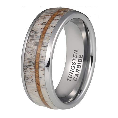 iTungsten 8mm Mens Tungsten Rings Womens Wedding Bands Deer Antler Koa Wood Inlay Domed Comfort Fit ()