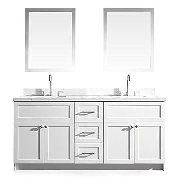 Gentil DKB Bradford Series 73u0026quot; Inch Solid Wood Double Sink Bathroom Vanity  Set In White With
