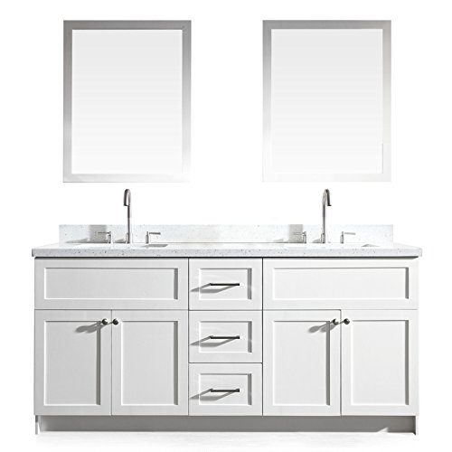 DKB Bradford Series 73'' Inch Solid Wood Double Sink Bathroom Vanity Set In White With White Quartz Countertop by Decorative Kitchen And Bath