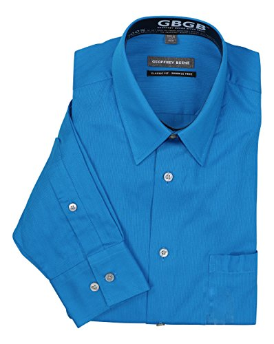 Geoffrey Beene Wrinkle-Free Classic Fit Long Sleeve Dress Shirt (15 34-35, Deep Sea)