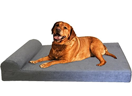 Dogbed4less Premium Head Rest Orthopedic Gel Memory Foam Pet Dog Bed for XL Dog, Waterproof Liner and Gray Suede Cover, Jumbo 55X47 Inch