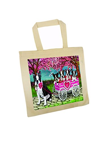 I Love Boston Terrier Dogs in a Cart Tote Bag price