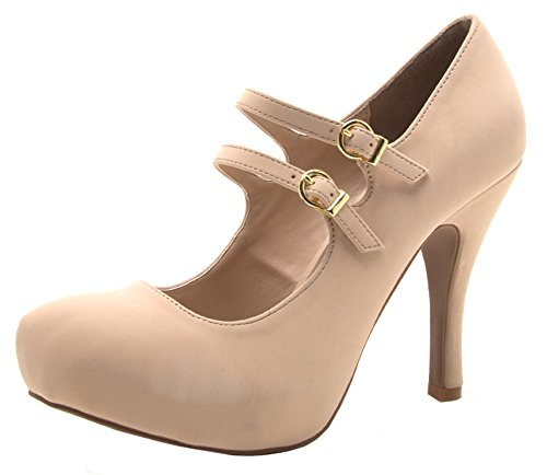 Qupid Women's Closed Toe Double Strap Mary Jane Platform Heel Pump (10 B(M) US, Nude)