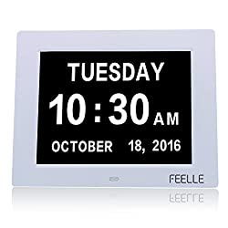 Day Clock,Alarm clock FEELLE Memory Loss Digital Clock,Original Calendar Desktop / Wall Clock with Extra Large Non-Abbreviated Day & Month - Excellent for Impaired Vision & Dementia Alzheimer's