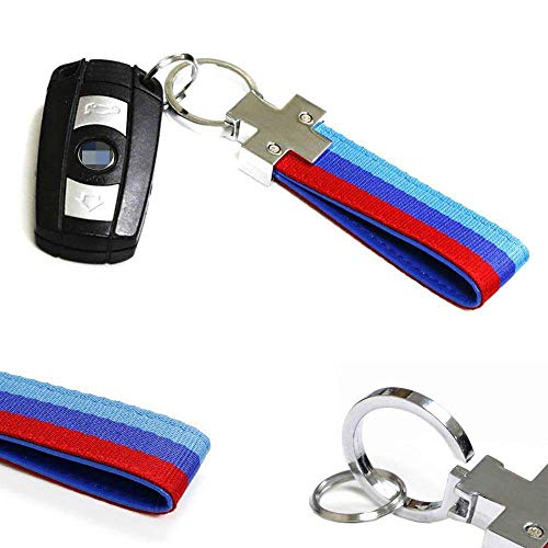 iJDMTOY M-Colored M-Power Theme Stripe Nylon Strap w/Keychain Ring for All BMW Car Bike Motorcycle