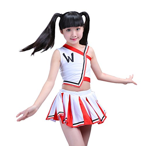 Halloween Costumes For Curvy Girls (Girls Cheerleader Uniform Outfit Costume Fun Varsity Brand Youth Red and white (6-7 Years))