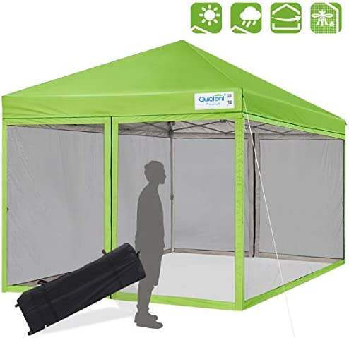 Quictent Ez Pop up Canopy with Netting Screen House Tent Mesh Side Wall Kelly Green, 8 Feet x 8 Feet