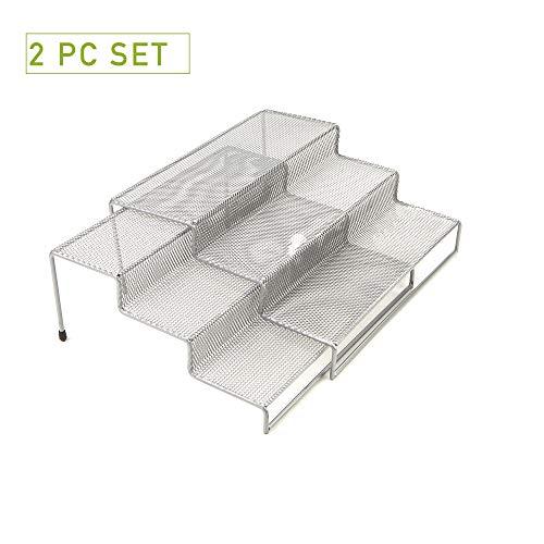 Mind Reader 3 Tier Metal Mesh Kitchen Storage Organizer, 2 Pcs, Silver (Tiered Organizer Shelf)