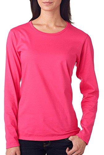 Anvil Ladies' Lightweight Long-Sleeve T-Shirt, Hot Pink, Medium - New Jersey Womens Pink T-shirt