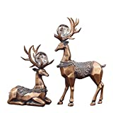 QY-Our Elegant Handmade Deer Decoration 2 Set of Luxury Style Deers Home Decor Resin Deer Statue for Christmas Office Tabletop Home Decoration with Beautiful Glass Ball Retro Copper Color