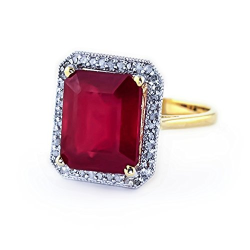 - 7.45 Carat 14K Solid White Rose Yellow Gold Emerald Cut Ruby Halo Design with Natural Diamond Ring 4894 (Yellow-Gold, 5.5)