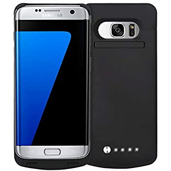 Never Run Out NRO Samsung Galaxy S7 Edge Battery Case Charger (5.5 Inch) Upgraded 5200mAh Portable Charging Case with Tempered Glass Screen Protector ...