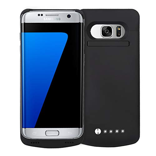 Never Run Out NRO Samsung Galaxy S7 Edge Battery Case Charger (5.5 Inch) Upgraded 5200mAh Portable Charging Case with Tempered Glass Screen Protector + Kickstand