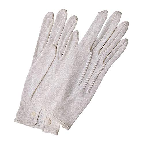 White Stitched Cotton Gloves - Large