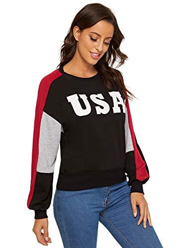 SweatyRocks Women's USA Print Color Block Shirt Top Long Sleeve Casual Pullovers Sweatshirt