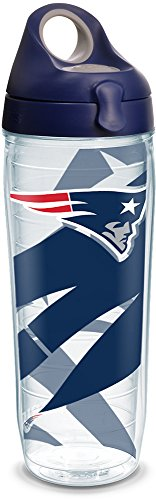 Nfl Bottle Water - Tervis 1292396 NFL New England Patriots Insulated Tumbler with Wrap and Navy with Gray Lid 24oz Water Bottle Clear