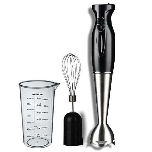 Ovente Multi-Purpose Immersion Hand Blender Set – 300-Watts, 2-Speed – Stainless Steel Blades and Detachable Shaft – Includes Egg Whisk and BPA-Free Beaker (24 oz) – Black (HS583B)