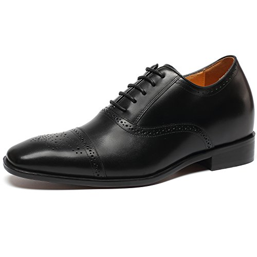 - CHAMARIPA Men's Invisible Height Increasing Elevator Shoes-Black Oxford Dress Shoes Calfskin Leather-2.76 Inches Taller K6531-1 (10 D(M),Black)