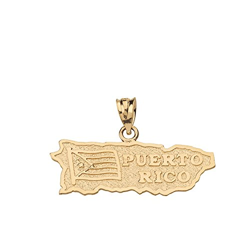 Puerto Rico US State Map Charm Pendant in 10k Yellow Gold
