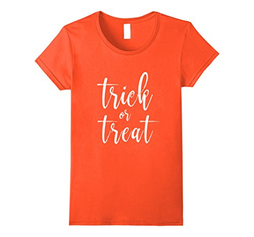 Womens Trick or Treat Classy Calligraphy Halloween Costume T Shirt XL Orange