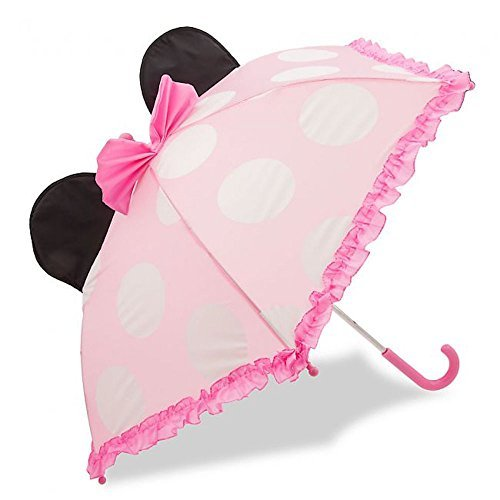 Disney Store Deluxe Pink Minnie Mouse Umbrella for Girls with Ears 2017