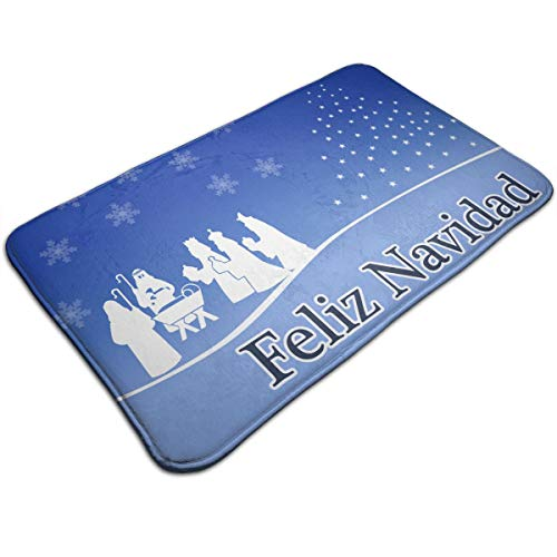 DIDIDI Feliz Navidad Sign Nativity Scene Throw Area Ground Mat Restroom Kitchen Bathroom Accent Floor Party Carpet Outside Door Set Decor Welcome Entryway Rug Sign Celebrate Decorations Ornament