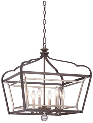 Minka Lavery 4348-593 6-Light Pendant, Dark Rubbed Sienna with Aged Silver Finish