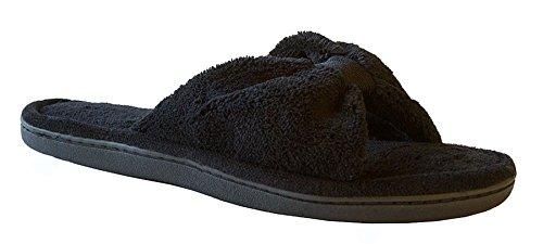 Isotoner Women's Microterry Bow Open Toe Slide Slipper, Black, - Trim Toe Open