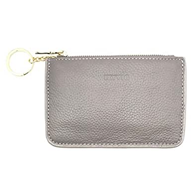 RFID Blocking secure Leather Zip Coin Purse with keychain Ring - Taupe