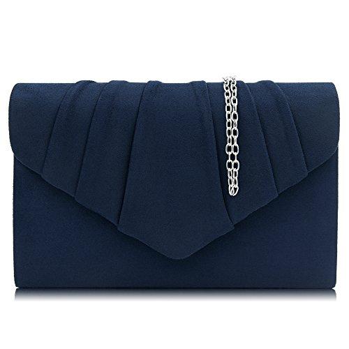 Milisente Women Clutches Velvet Pleated Evening Bag Evenlope Clutch Purse (Navy) by Milisente