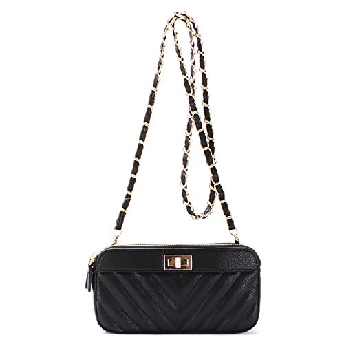 Classic Chevron Quilted Triple Compartment Wallet Clutch with Detachable Chain Strap (Chevron Black)