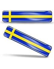 Biomar Labs® 2 x 3D välvd silikonklistermärken dekaler Sveriges nationella svenska flagga bil motorcykelhjälm F 22