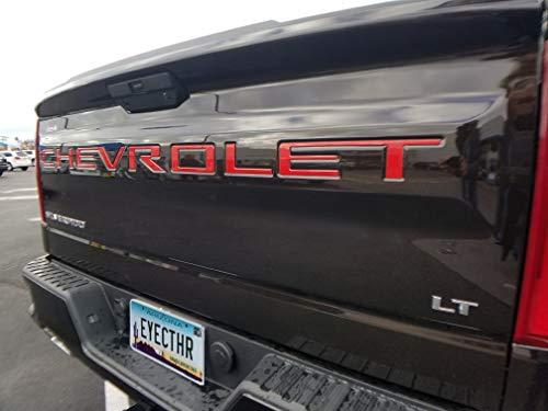 EyeCatcher Tailgate Insert Letters fits 2019-2020 Chevrolet Silverado (Red)