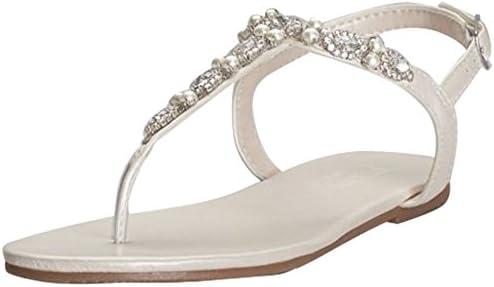 David's Bridal Pearl and Crystal T-Strap Sandals Style Sarina