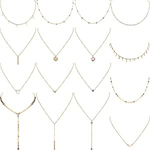 16 Pieces Layered Choker Necklace Adjustable Pendant Necklace Moon Sequins Choker Multilayer Chain Necklace Set for…