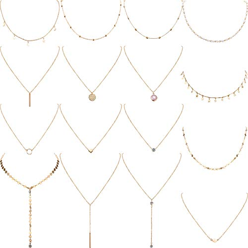 Yaomiao 16 Pieces Layered Choker Necklace Adjustable Pendant Necklace Moon Sequins Choker Multilayer Chain Necklace Set for Women Girls (Gold)