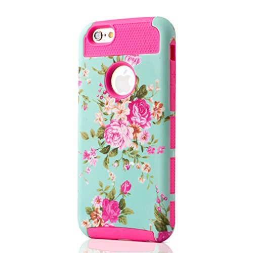 """For iphone 6 (4.7 """") [Protection Case] ,[Cover Case] [TPU + Rubber Hybrid] Rose Flower Pattern Unique Slim Fit Hard Design Dual Layer Rugged Shield Skin Case for Apple iphone 6 (4.7 inch) / iphone Air Rose"""