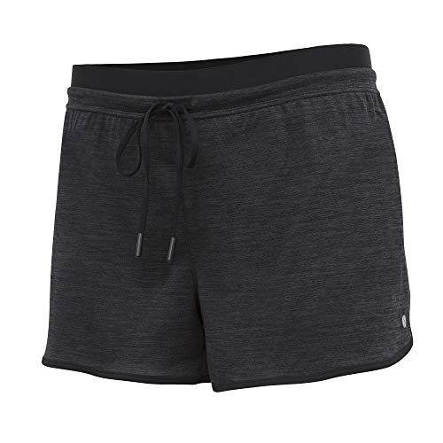 (Layer 8 Ladies Quick Dry Two in One Running Yoga Work Out Short with Compression Shorts Underneath (Medium, Rich Black Heather/Rich Black))
