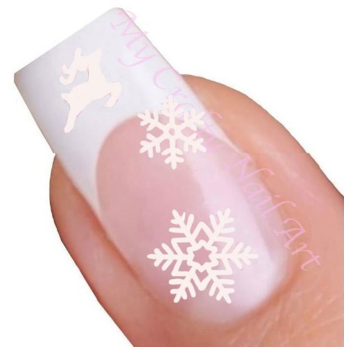 Nailart Sticker Schneeflocke und Rentier Weiß selbstklebend - Weihnachten