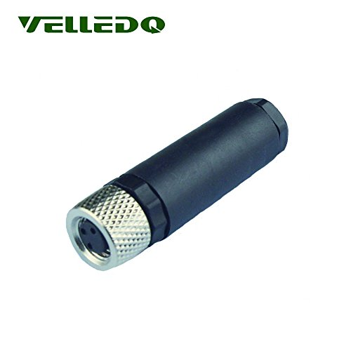 VELLEDQ Industrial Field-wireable M8 Sensor Connector 3-Pin Female Adaptor Screw Terminal Plug Fittings ()